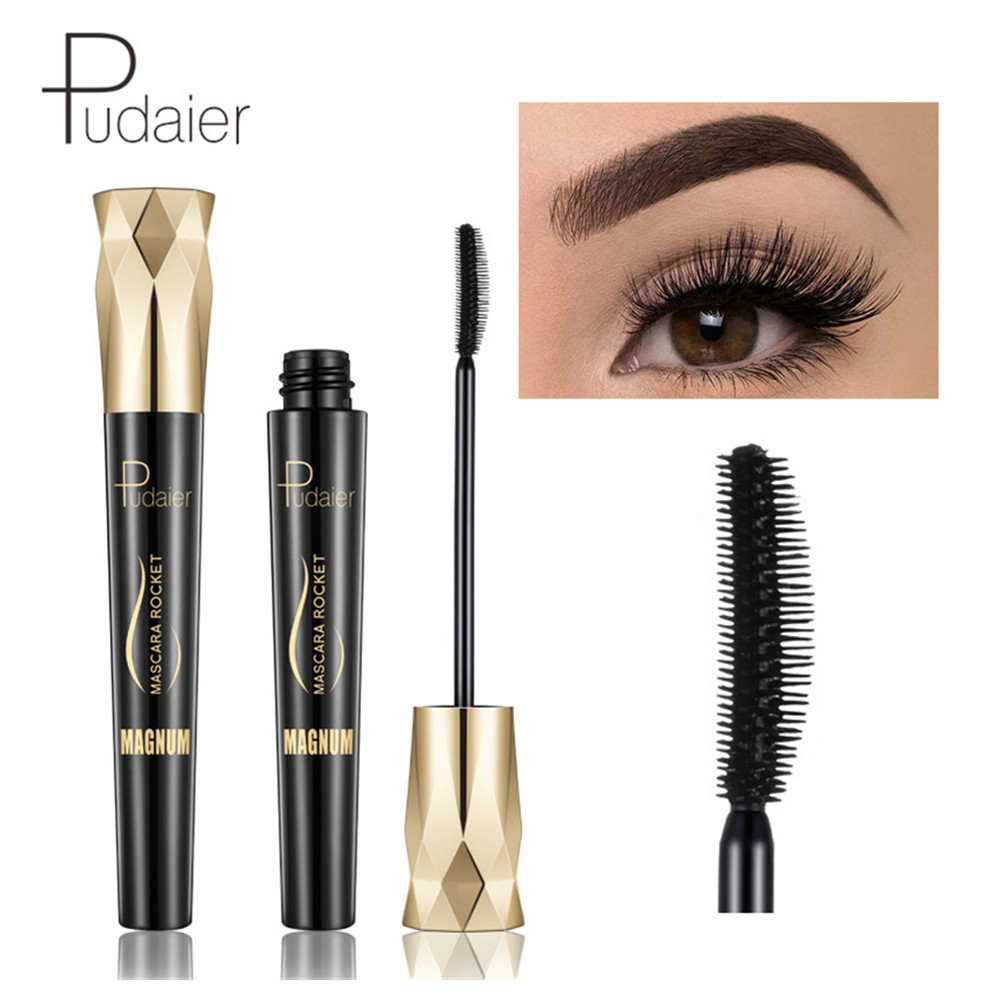 Pudaier Diamond Eye Lash Mascara 4d Fiber Waterproof Rimel Mascara Eyelash Makeup Cosmetic Curling Lengthening Lashes Black Ink