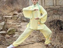 top quality spring&autumn embroidery Tai chi taiji suits costume kung fu clothing martial arts wushu performance uniforms yellow(China)