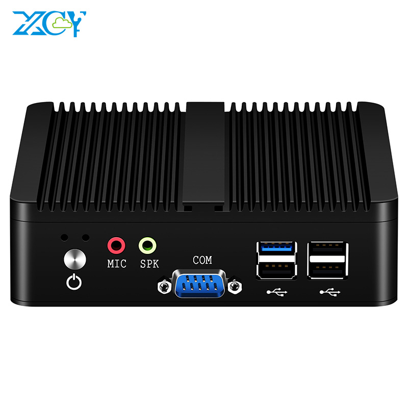 XCY Quad-Cores Fanless Mini PC Intel Pentium J2900 Windows 10 Linux DDR3L RAM mSATA SSD Dual NIC 2xRS232 HDMI VGA 4xUSB WiFi 1