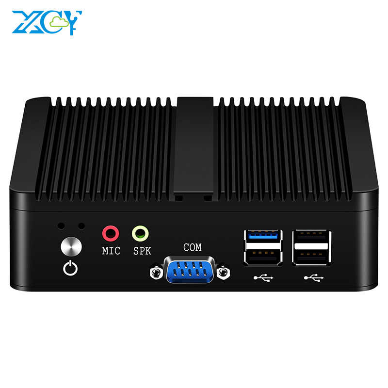 Xcy quad-núcleos fanless mini pc intel pentium j2900 windows 10 linux ddr3l ram msata ssd duplo nic 2xrs232 hdmi vga 4xusb wifi