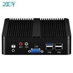 XCY Quad núcleos Mini PC Intel Pentium J2900 Windows 10 Linux DDR3L RAM SSD mSATA WiFi 2x Gigabit Ethernet 2x RS232 4x USB ventilador