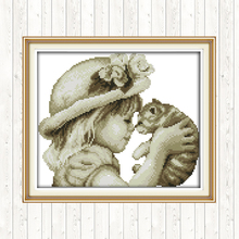 Joy Sunday Counted Cross Stitch Kits for Embroidery Kit Lovely Girl and Cat Painting DMC DIY Aida Printed Canvas Needlework