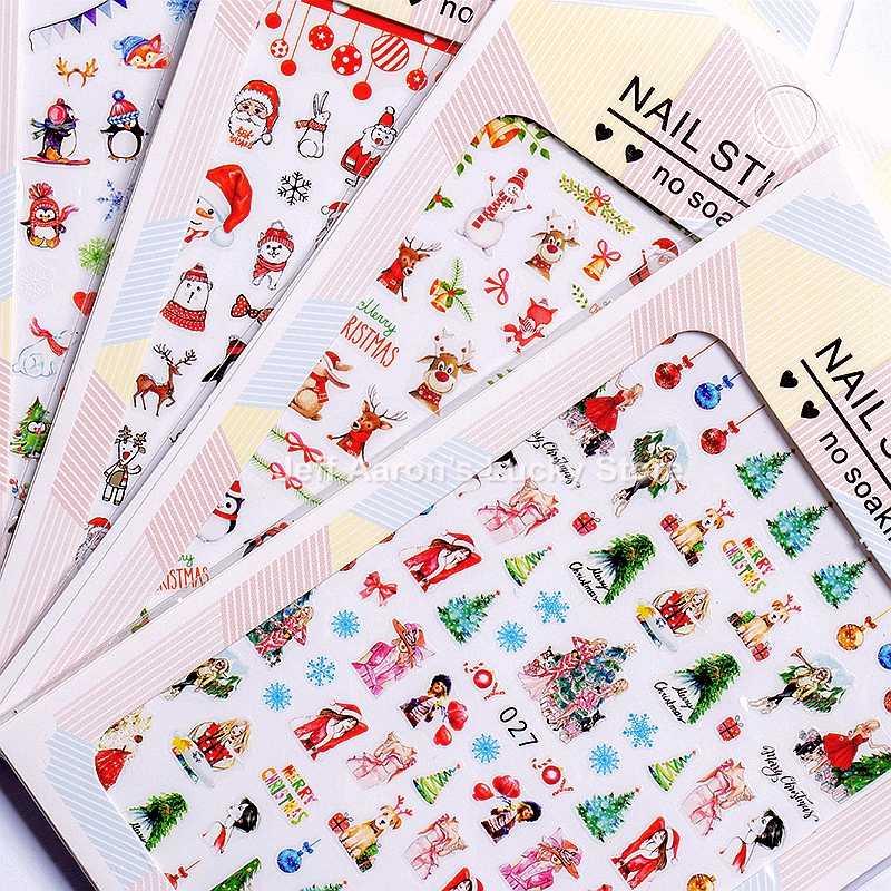 5 Sheets Christmas adhesive 3d nail sticker foil for nails art decoration cartoon designs nail decals manicure supplies tool
