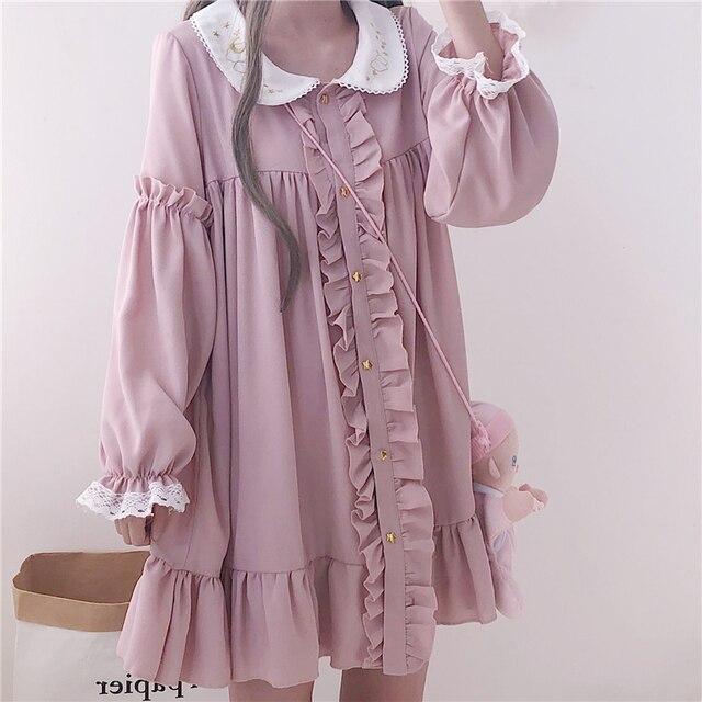 Woherb 2021 Summer Dress Women Harajuku Pink Ladies Ruffle Lace Patch Kawaii Dresses Lolita Cosplay Sweet Loose Vestidos 21092 2