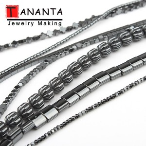 Black Natural Hematite Beads Heart Cross Cylinder Square Round Loose Stone Beads For Jewelry Making DIY Bracelet Necklace 15inch