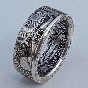 Мужские кольца монета Моргана в винтажном стиле Morgan Half Dollar 1945, резное кольцо в стиле бохо «Соединенные Штаты Америки»