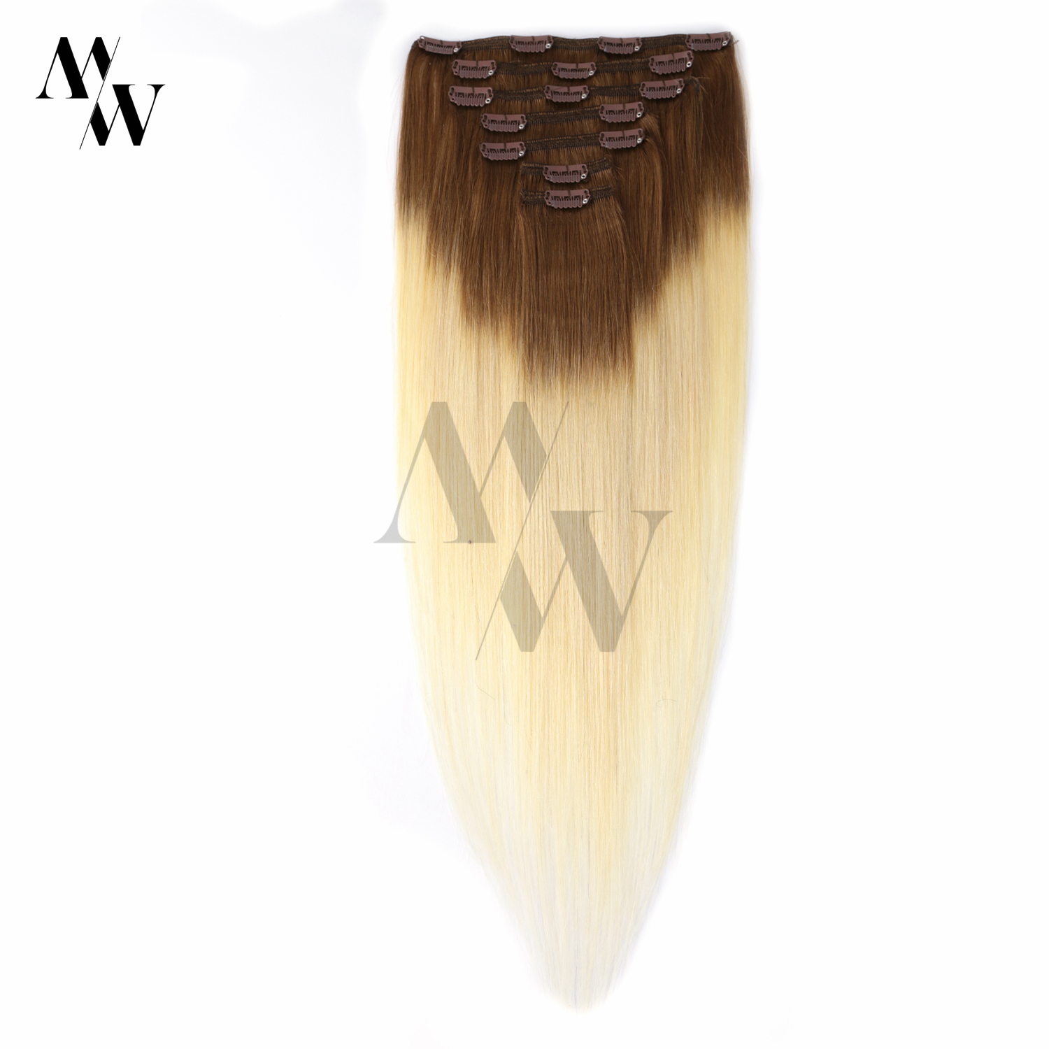 MW Highlight Hair Extensions Clip In Human Hair Machine Remy Real Hidden Ombre Clip On Hair With 16 Clips 20 Inches 100g/set