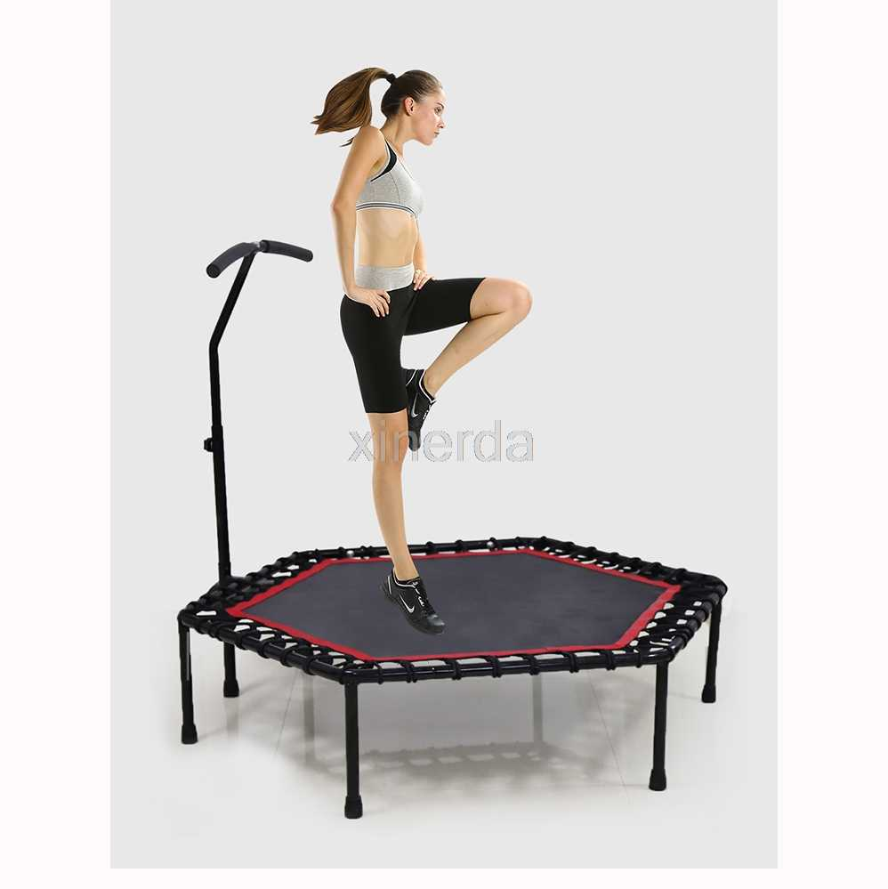 Foldable Trampoline 48-Inch Mini Silent Fitness Trampoline With Adjustable Armrests Suitable For Indoor//Outdoor//Garden//Home//Yoga//Aerobic Exercise