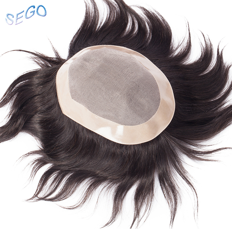 "SEGO 6""x8"" Machine Remy Durable Hairpieces Men Toupees Mono&PU Replacement System Indian Hair 100% Human Hair Color 1B# 1# 2#"