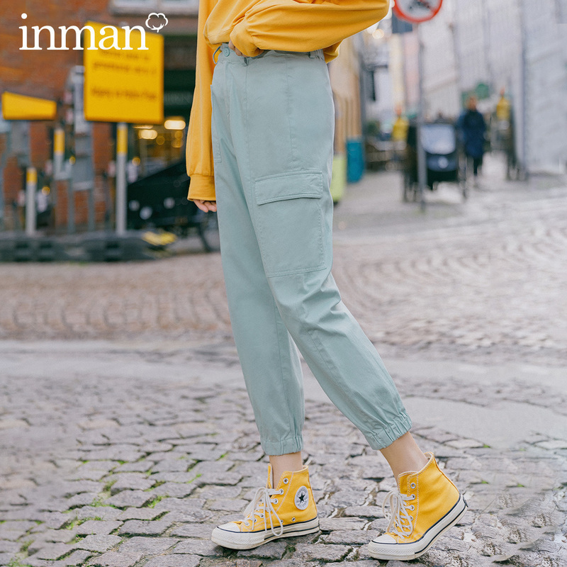 INMAN 2020 Spring New Arrival Literary Leisure Pure Cotton Ankle-length Slimmed High Waist Overall Pant