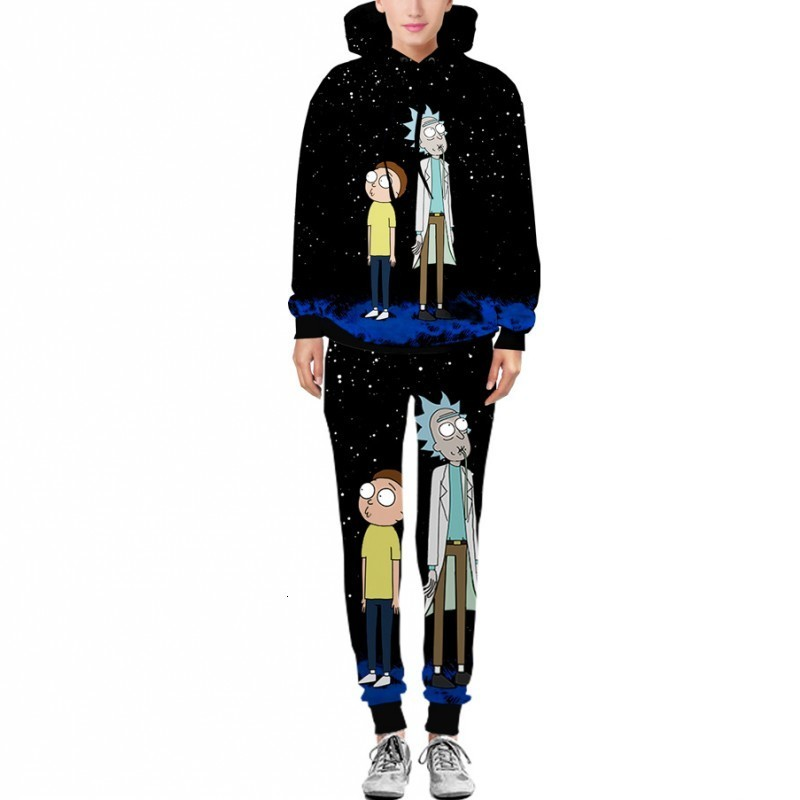 Rick And Morty Printed Hooded Pants Hip Hop Men 2020 New Fashion Hot Sale Man Sets Male Elastic Waist O-Neck Large Size S-XXL