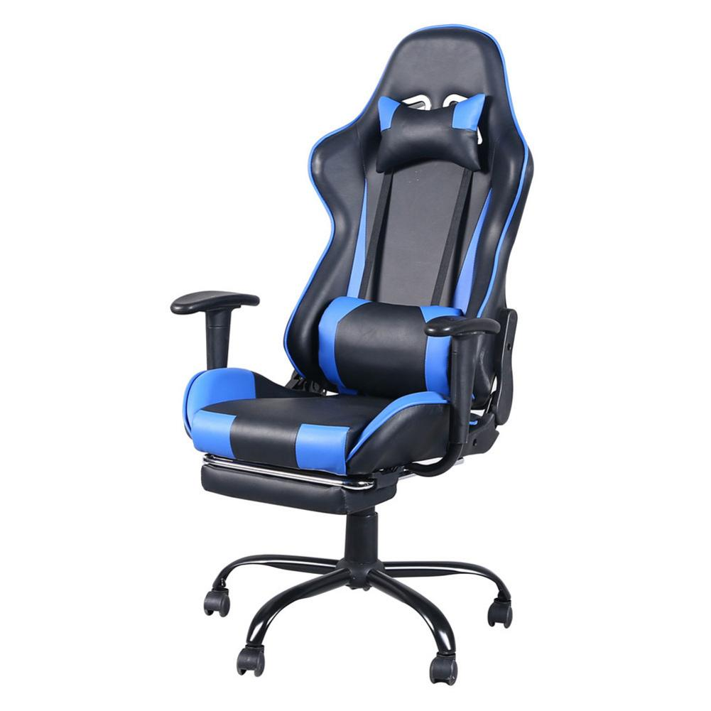 360 Degree Rotating Chair High Back Swivel Racing Gaming Chair Office Chair With Footrest Tier 128.5-136.5cm Hight Black & Blue