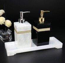 Аксессуары для ванной комнаты из смолы, дезинфектор для рук, бутылка для геля, набор для ванной комнаты, ватный тампон, коробка, поднос, набор для умывания ванной комнаты, украшение