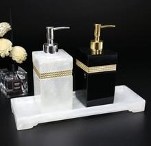שרף אביזרי אמבטיה, יד sanitizer בקבוק ג ל dipenser האמבטיה ערכת כותנה ספוגית תיבת מגש לשטוף סט אמבטיה קישוט