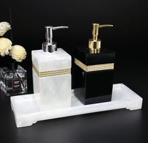 Image 1 - שרף אביזרי אמבטיה, יד sanitizer בקבוק ג ל dipenser האמבטיה ערכת כותנה ספוגית תיבת מגש לשטוף סט אמבטיה קישוט