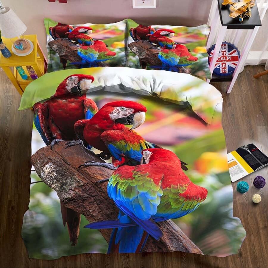 Wostar 3d conjuntos de cama folha capa edredão fronha têxteis para casa adulto crianças três papagaios