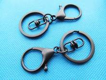 50pcs Black Strong Lobster Clasp Circle Clasp Key Chain Ring Connector Pendant Charm/Finding,DIY Accessory Jewelry Making(China)