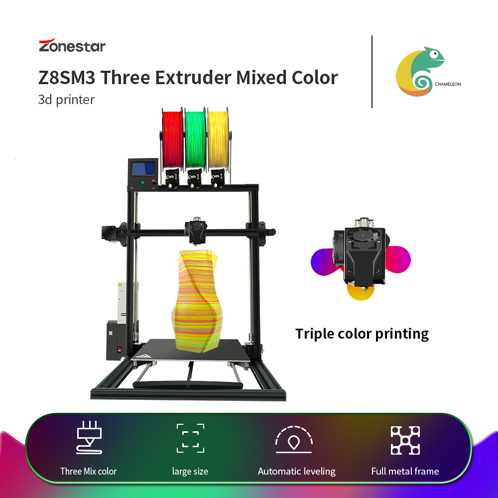 ZONESTAR Newest Triple Extruder Large Size Auto Mix Color <font><b>3</b></font>-IN-1-OUT Fast Assembly Full Metal Frame <font><b>3D</b></font> <font><b>Printer</b></font> DIY Kit Free Ship image