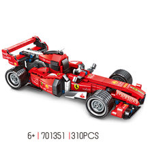 Technics Simulation Ferra FRR F1 building block pull back racing car assemble bricks toys collection for boys gifts(China)