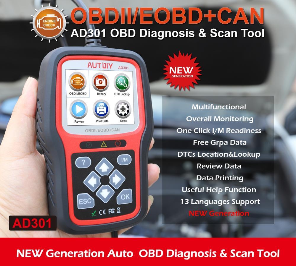Neueste OBD2 Scanner Professional Auto Diagnose Werkzeug AUTDIY AD301 EOBD Code Reader Automotive Motor Überprüfen OBDII Können Scan Werkzeuge