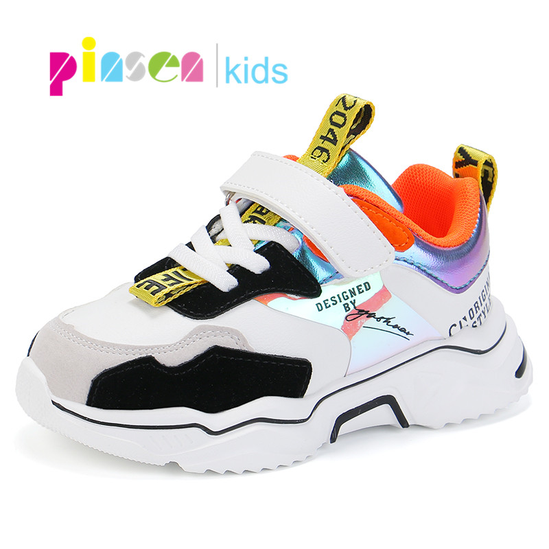 PINSEN Shoes Girls Sneaker Kids Sports Casual Fashion New Breathable for Children