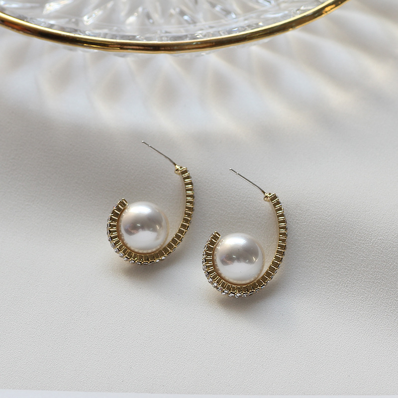 korean high-grade Pearl Earrings fashion  temperament pearl boho luxury bohemian rhinestone vintage earrings