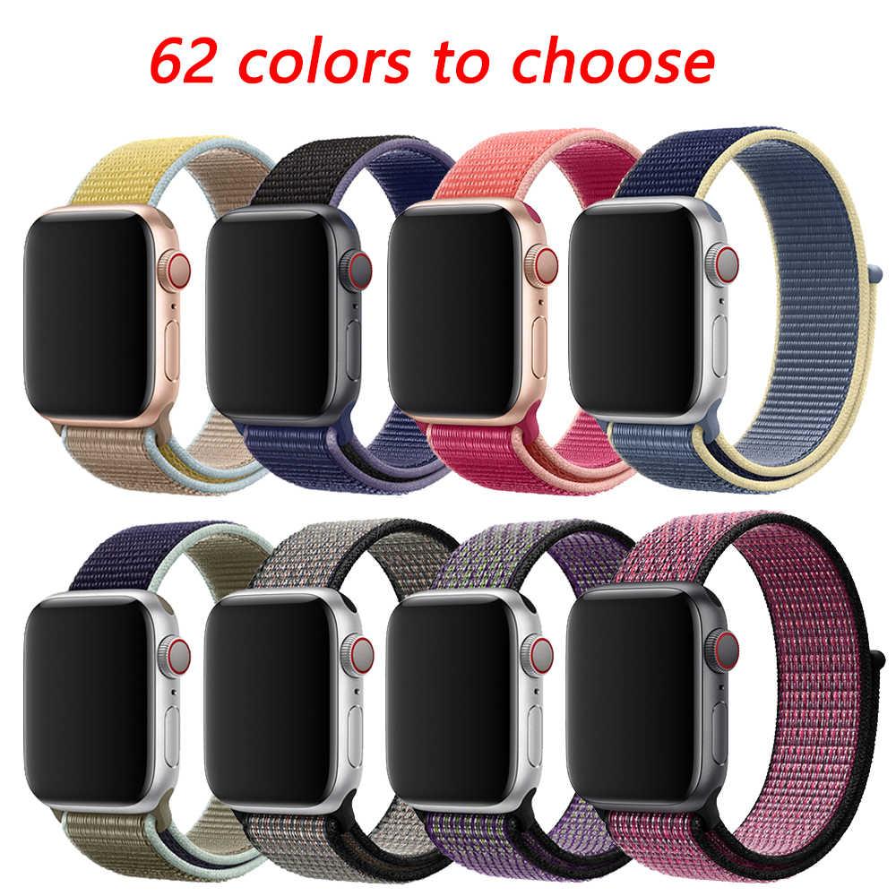 רצועת עבור apple watch 5 4 להקת קוראת apple watch 42mm 44mm 38 mm 40mm iwatch סדרת 5 4 3 2 1 ניילון pulseira צמיד רצועת השעון