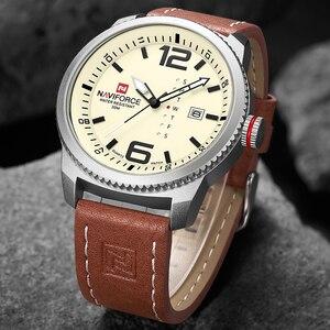 Image 3 - 2020 יוקרה למעלה מותג NAVIFORCE גברים צבאי ספורט שעונים גברים של קוורץ תאריך שעון איש עור שעון יד Relogio Masculino