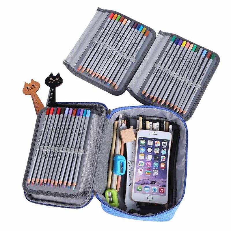 Hot Sale Super Capacity Pencil Case Three-layer Zipper Stationery Bag School Supplies Cute Stationery Holder Organizer Pen Bag