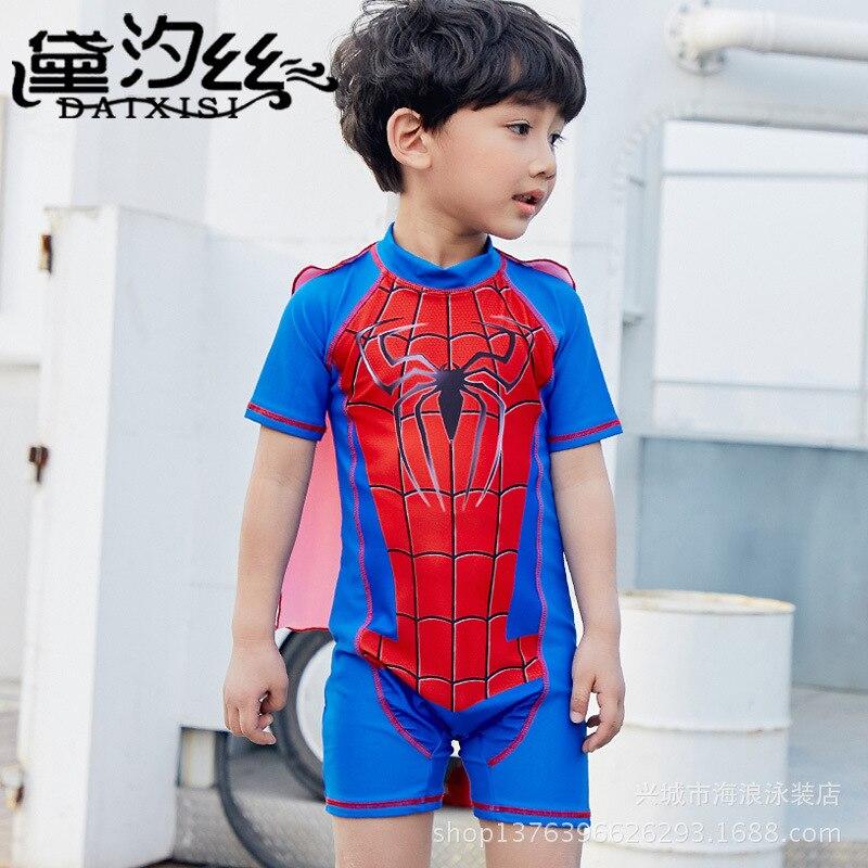 2018 New Style Big Boy Superman Spiderman BOY'S Cartoon Baby Comfortable Sun-resistant Hot Springs Bathing Suit