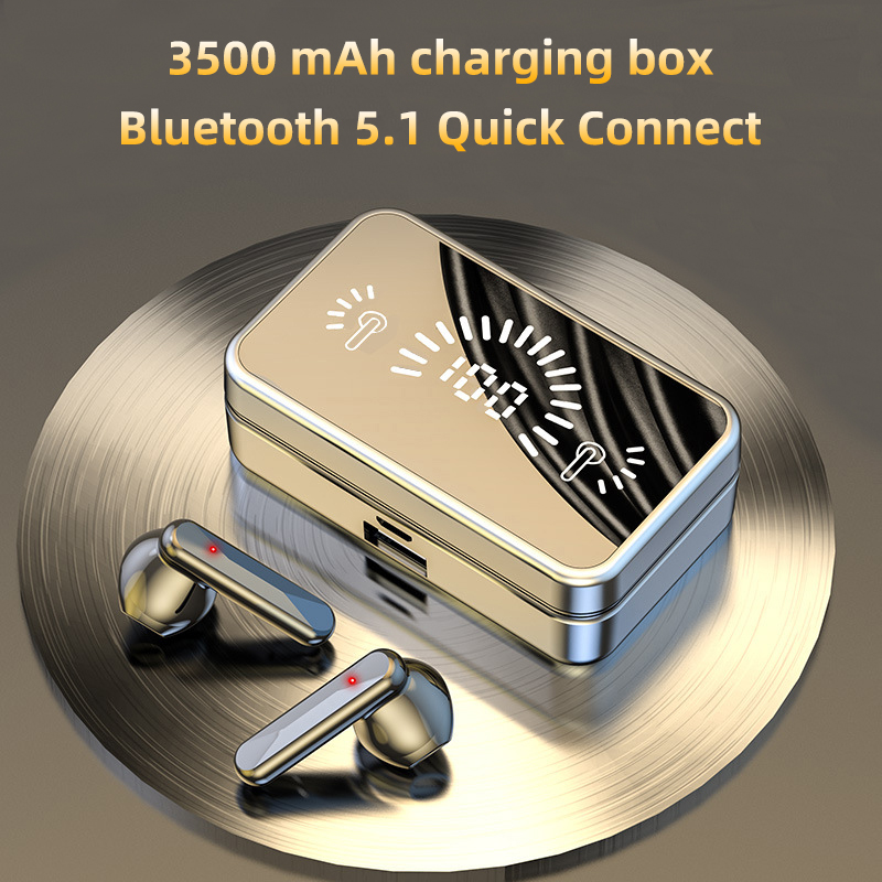 Bluetooth 5.1 TWS Wireless Headphones Hifi Stereo Sound Ipx7 Waterproof Sports Earphones With Microphone 3500mAh Charging Case