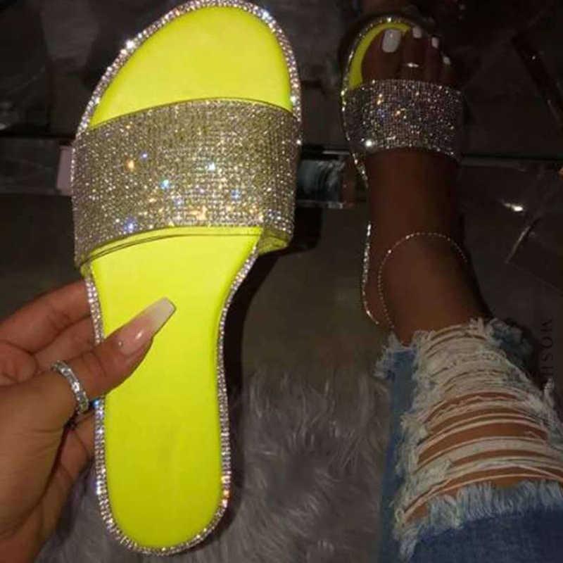 """Mùa Hè Giày Dép Nữ 2020 Bling Phẳng Kim Cương Giả Nữ Đi Biển Sandles Nhà Thiết Kế Sang Trọng Sandalias Mujer """"Sandels"""