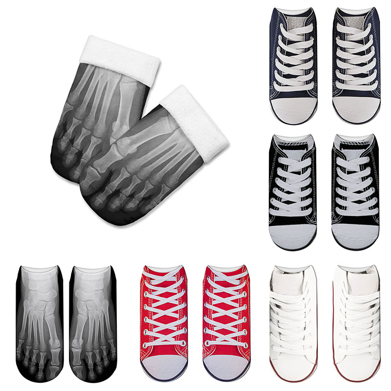 New Fashion Carton Canvas Shoes 3D Printed Skeleton Cotton Socks Skull Foot Low Cut Ankle Funny Socks For Women 5ZJQ-ZWS27
