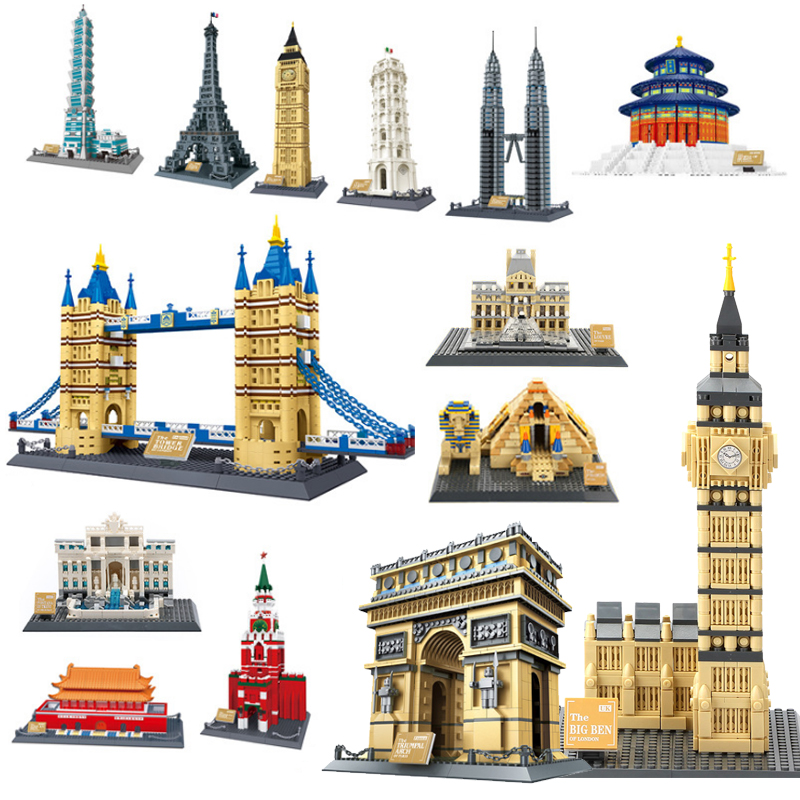 World's Famous Architecture Urban Street View Louvre Pyramid Big Ben of London Building Blocks Construction Bricks Kids Toy Gift