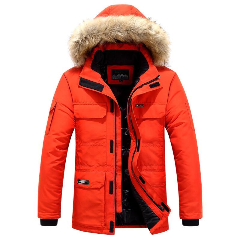 Mens Winter Jacket warm Thick Cotton Multi-pocket Hooded Jacket Male casual Fur Trim Coat men's Down jacket coat Plus size M-6XL 6