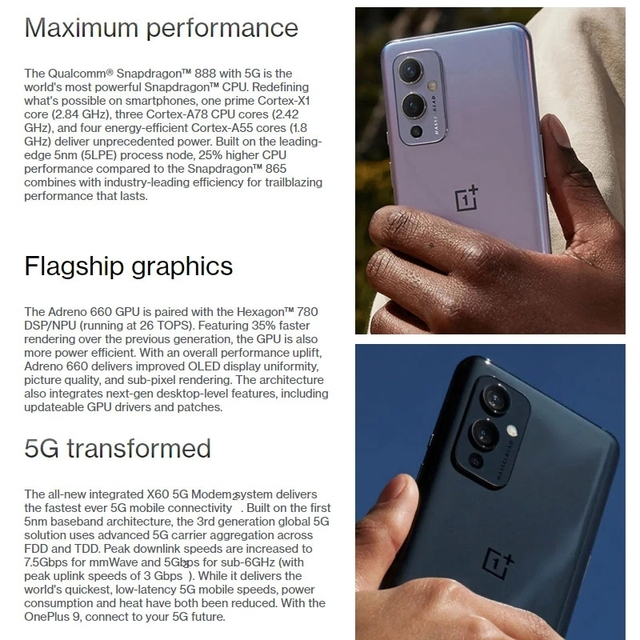 Global Rom OnePlus 9 5G Mobile Phone Android 11 Snapdragon 888 8GB 128GB 6.5'' 120Hz Fluid AMOLED Hasselblad Camera Smartphone 4