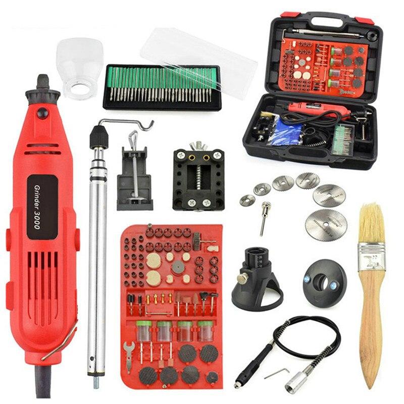 Ue/US 220V 260W Mini ensemble de perceuse électrique meuleuse à vitesse Variable rectifieuse accessoires de gravure Dremel outils rotatifs