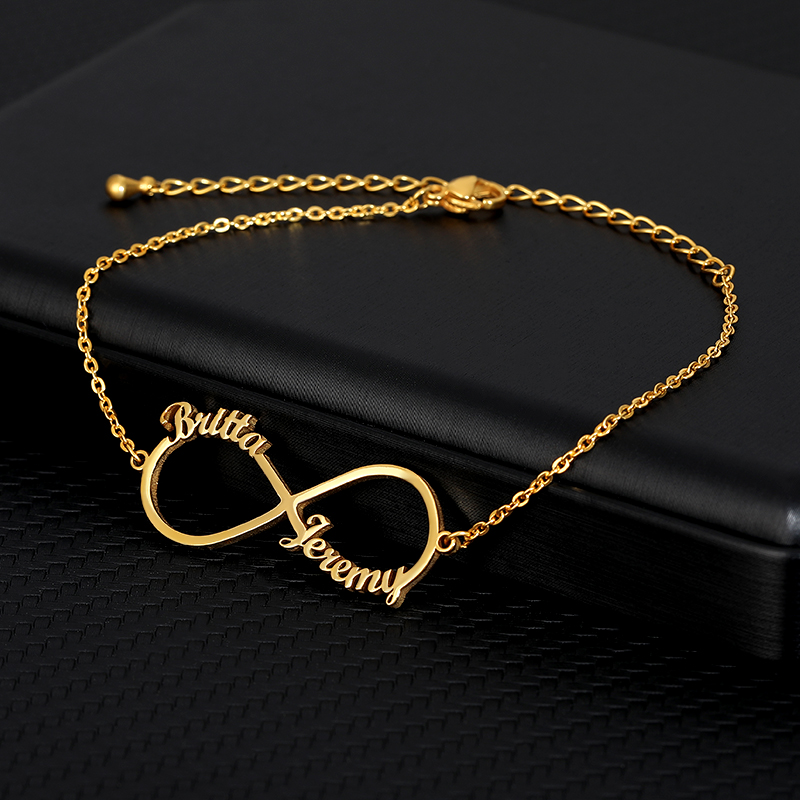 Custom Infinity Style Name Bracelet Silver Gold Chain Stainless Steel Personalized Name Bracelets Women Couple Jewelry Gifts BFF