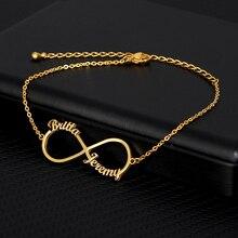 Пользовательские бесконечность стиль имя браслет серебро золото цепи нержавеющая сталь персонализированные браслет женщин пара ювелирные изделия подарки лучшая подруга