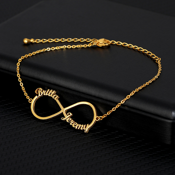 Custom Infinity Style Name Bracelet Silver Gold Chain Stainless Steel Personalized Name Bracelets Women Couple Jewelry Gifts BFF personalized custom infinite name bracelet silver gold chain stainless steel nameplate charms couple jewelry for women men