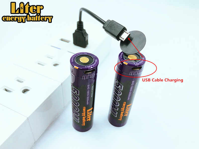 5000ML USB 3,7 V 18650 Li-Ion 3500mAh USB 5000ML batería recargable luz indicadora de LED DC-carga + cable USB