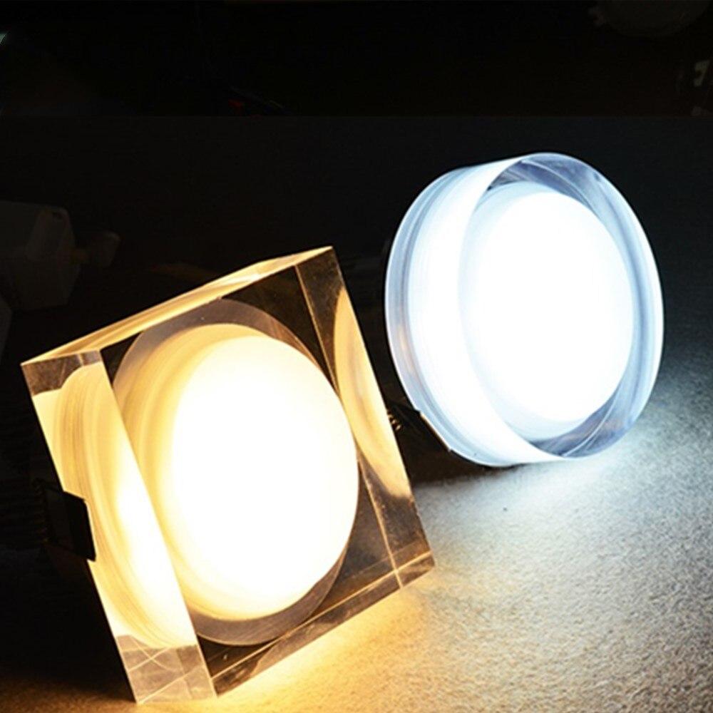 Светодиодный хрустальный потолочный светильник, 5 Вт 10 Вт 12 Вт с регулируемой яркостью, Светодиодный точечный светильник AC220V 110 В, светодиодный встраиваемый потолочный светильник для домашнего освещения Полочные светильники      АлиЭкспресс