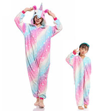 Women Girls Unicorn Kigurumi Zipper Onesie Cute Pajama Adult Kids Sleepping Jumpsuit Winter Warm Flannel Overalls Animal Outfit