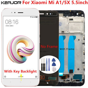 For Xiaomi Mi A1 LCD Screen Tested AAA Lcd Display+Touch Screen with middle frame Replacement On for Xiaomi Mi 5X Mi A1 5.5inch tested 6 44 for xiaomi mi max 3 max3 lcd display touch screen digitizer assembly replacement accessories for mi max3 lcd