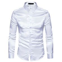 Новинка осени, Мужская шелковая атласная рубашка с длинным рукавом, винтажные Свадебные смокинговые рубашки, одноцветная шелковая рубашка