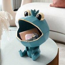 귀여운 개구리 수 지 장식 인형 캔디 키 스토리지 박스 침실 데스크 주최자 현대 거실 장식 액세서리