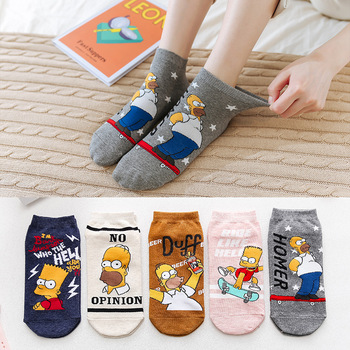 5 Pairs Cartoon Cotton Funny Socks Spring and Summer Korean Kawaii Ventilate Socks Women Japanese Cute Harajuku Ankle Socks spring and summer flamingo and fox series woman cotton lovely socks painting lady female boat socks short ankle women socks
