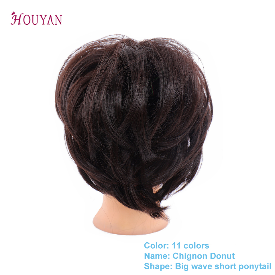 HOUYAN Women Ponytail Extensions Synthetic Hair Pony Tail Elastic Rubber Band Hair Buns Chignon Donut