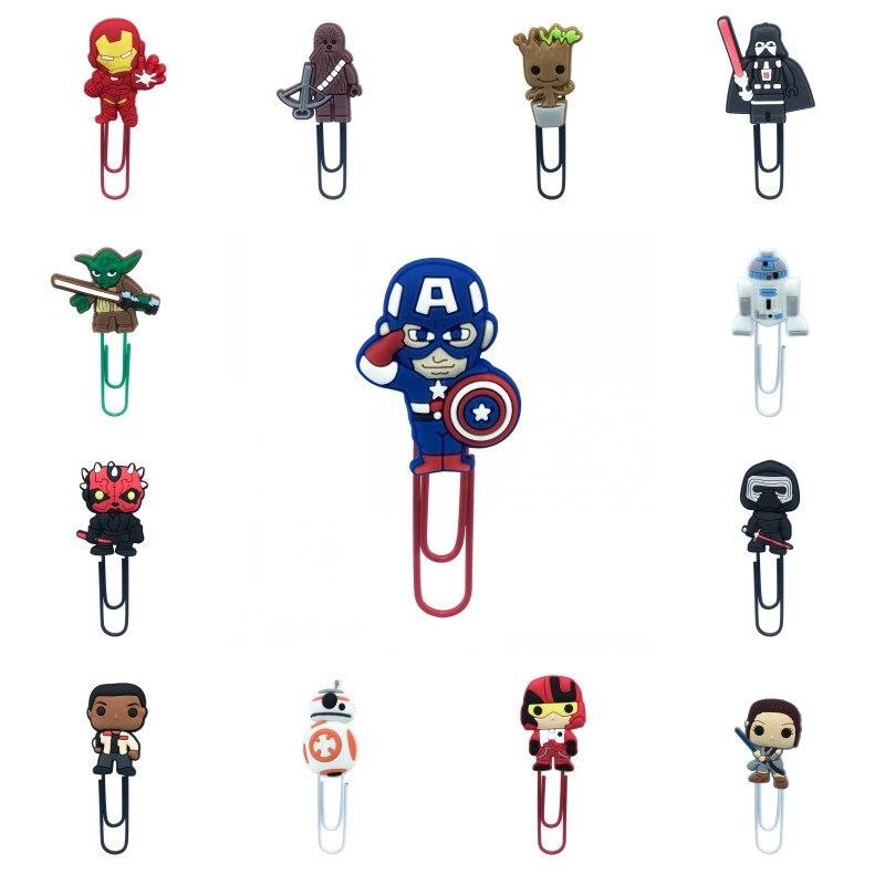 1pcs Marvel Avenger Cartoon PVC Bookmark Superhero Star Wars Paper Clips Page Holder Stationery For Teacher Student Kids Gift