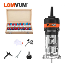 LOMVUM Woodworking Router 220V Milling Machine Electrict Trimmer Wood Cutting Trimming Machine 6.35MM Milling Engraving Slotting